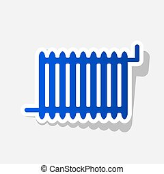 Radiator sign. Vector. New year bluish icon with outside...
