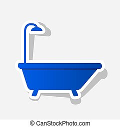Bathtub sign. Vector. New year bluish icon with outside...