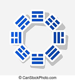 Bagua sign. Vector. New year bluish icon with outside stroke...