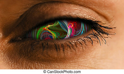 Eye iris with abstract neural dust pattern - Eye iris with...
