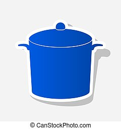Pan sign. Vector. New year bluish icon with outside stroke...