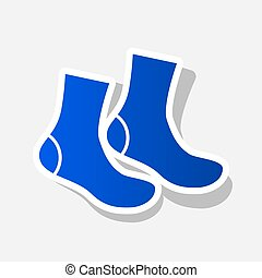 Socks sign. Vector. New year bluish icon with outside stroke...