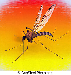 Digital Art Mosquito - One mosquito on evening background,...