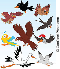 Birds - Set of vector illustrated birds - kid style