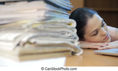 Overloaded with work woman - Sad woman at office, with a lot...