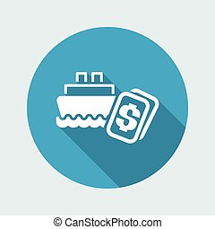 Vector illustration of single isolated navy cost icon
