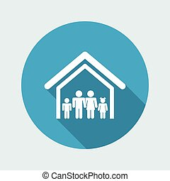 Vector illustration of single isolated family home icon