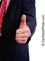 business man - A business man with thumb up ready to seal a...