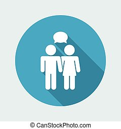 Vector illustration of single isolated couple chat icon