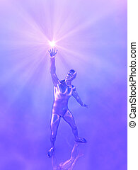 Reaching for the Light - 3D render depicting a metallic man...