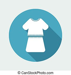 Vector illustration of single isolated girl dress icon