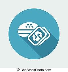 Vector illustration of single isolated fast food cost icon