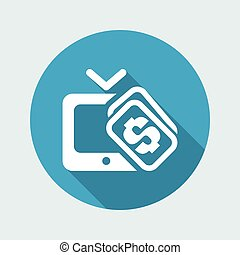 Vector illustration of single isolated pay TV icon