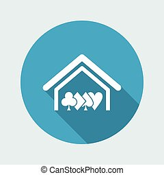 Vector illustration of single isolated poker house icon