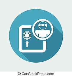 Vector illustration of single isolated thief bank icon