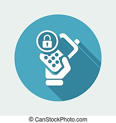 Vector illustration of single isolated phone lock icon