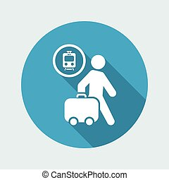 Vector illustration of single isolated train station icon