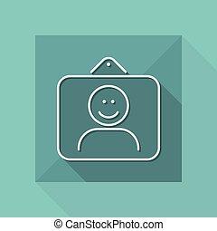 Smiling portrait icon - Thin series