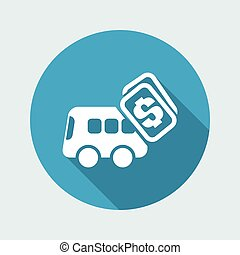 Vector illustration of single isolated bus pay icon