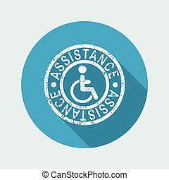 Handicap assistance stamp icon