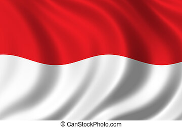 Flag of Indonesia waving in the wind