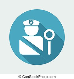 Vector illustration of single isolated road police icon
