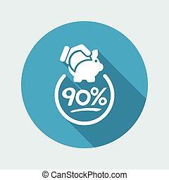 90% Discount label icon