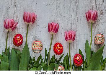 Rosa, Tulpen, Eier, grün, hintergrund, gras, Ostern