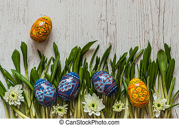 Easter Background with easter eggs and spring flowers on green grass