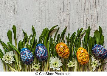 花, 春, 卵, 緑, 背景, 草, イースター