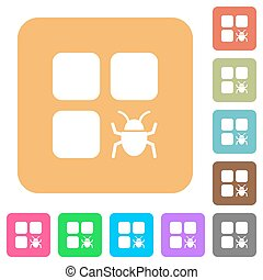Component bug rounded square flat icons - Component bug flat...