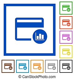 Credit card transaction reports flat framed icons