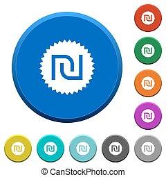 Israeli new Shekel sticker beveled buttons - Israeli new...