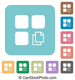 Copy component rounded square flat icons - Copy component...