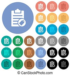 Note tagging round flat multi colored icons - Note tagging...
