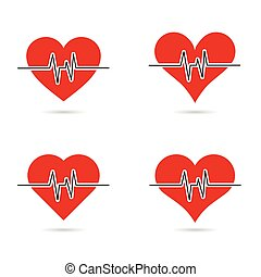 heartbeat set in red color illustration