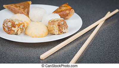 Delicious assortment of homemade Asian pastries. Samosas...