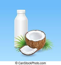 Coconut milk or yogurt and bottle design. Vector illustration