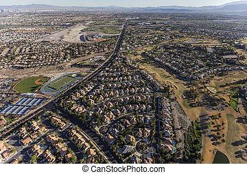 Rampart Blvd Summerlin Nevada Aerial - Aerial view of...
