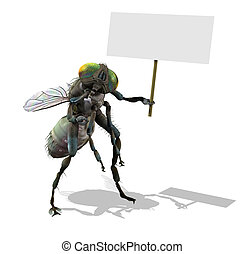 Giant Fly with Blank Sign - 3D render of a giant fly holding...