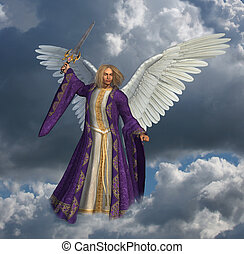 Archangel Micheal with Sky - 2 - 3D render of the Archangel...