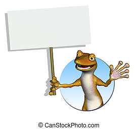 Gecko Holding a Blank Sign - 3D render of a cartoon gecko...