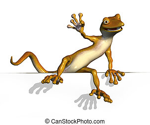 Gecko Climbing onto an Edge - 3D render of a cartoon gecko...