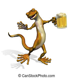 Gecko with Beer - 3D render of a happy gecko enjoying a mug...