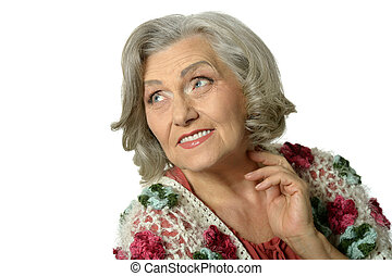Portrait of a beautiful happy elderly woman