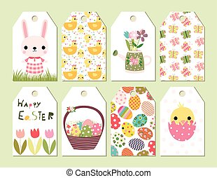 Vector set of Happy Easter and spring cute gift tags or...