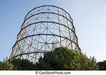 Former gasometer Rome - Old iron structure in Rome Italy,...
