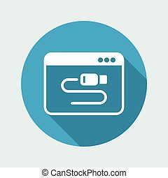 Cable computer setting - Vector flat minimal icon