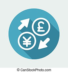 Yen/Sterling - Foreign currency exchange icon