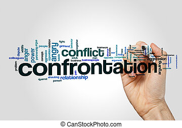 Confrontation word cloud concept on grey background.